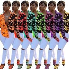 GL Femmes Automne Hiver imprimé Chemisiers Col rabattu à manches longues sexy Vintage Blouses courtes t-shirts Top grande taille hauts k8061