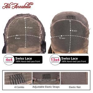 Image 5 - Ali Annabelle brezilyalı düz dantel ön İnsan saç peruk 13x4 dantel ön peruk ön koparıp İnsan saç dantel kapatma Frontal peruk