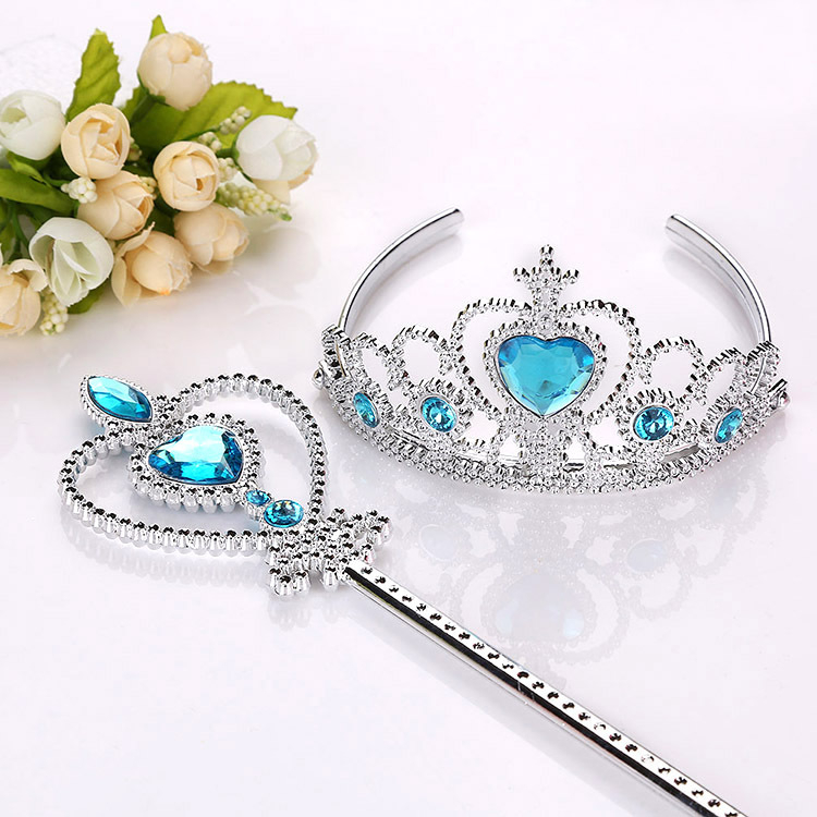 Frozen 2 Hair Wear Children Elsa Princess Birthday Party Headband Magic Wand Crown Hair Accessories Set Girl Toy For Kid Cosplay
