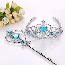 Frozen 2 Hair Wear Children Elsa Princess Birthday Party Headband Magic Wand Crown Hair Accessories Set Girl Toy For Kid Cosplay