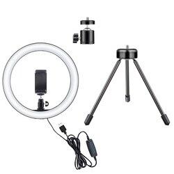 LED Selfie Lampu Light 10W 3000-5500K Studio Fotografi Foto Mengisi Cincin Lampu dengan Tripod untuk iPhone Smartphone Makeup