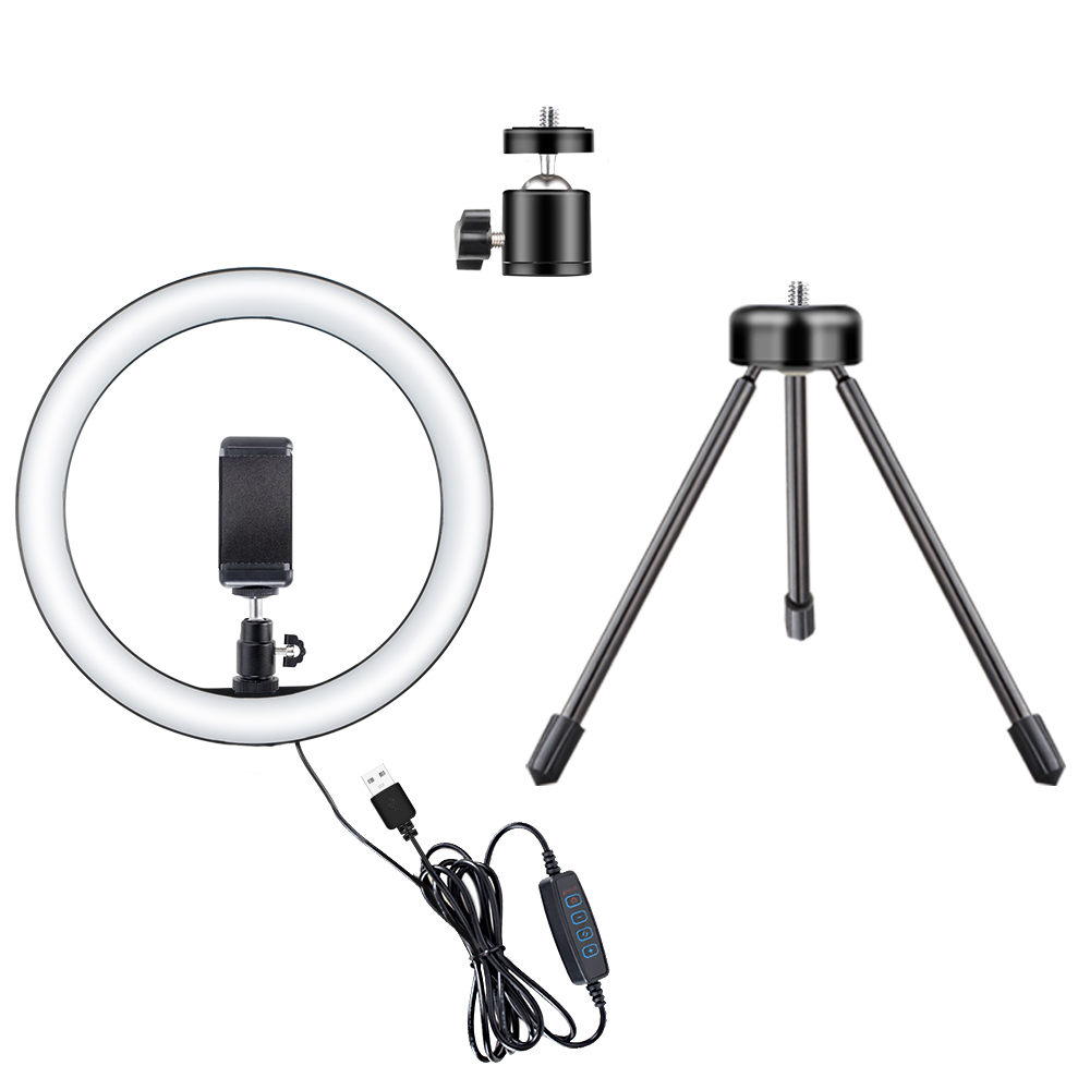 LED Selfie Ring Light 10W 3000-5500K Studio Photography Photo Fill Ring Light With Tripod For Iphone Smartphone Makeup