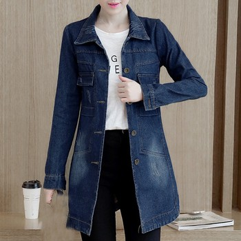 Basic Long Jeans Coats Women Slim Ripped Denim Jacket Femme Elegant Vintage Frayed Jackets Outwear Casacos Feminino#J30 1