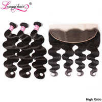 Longqi Malaysian Body Wave Bundles with Frontal Natural Color Remy Human Hair 3 Bundles with 13x4 Lace Frontal