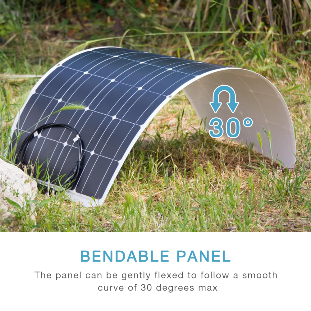 Image 2 - Dokio 12V 100W Flexible Monocrystalline Solar Panel For Car/Boat/ Home Solar Battery Can Charge 12V Waterproof Solar Panel ChinaSolar Cells   - AliExpress