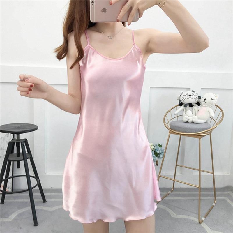 Pink Lingerie Plus Size 5XL Silk Women Sleepwear Stain Night Dress Night Gown Ropa Sexy Para El Sexo Women Clothing