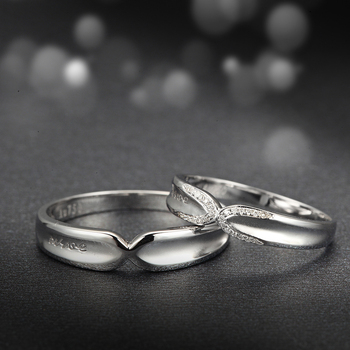 Diamond 18K White Gold Wedding Bands Engagement Couple Rings Handmade Diamond Jewelry 3