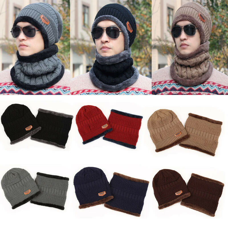 Winter Warm Women Camping Knitted Wool Soft Hat Beanie Baggy Warm Fleece Ski Cap Neckerchief Casual Elastic Lady Cap Scarf Set