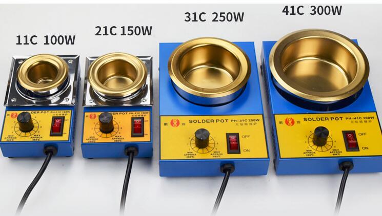 100W 150W 250W 300W Lead-free Solder Pot Soldering Desoldering Bath Titanium Plate 36mm 50mm 80mm 100mm200-480 Degree 220V