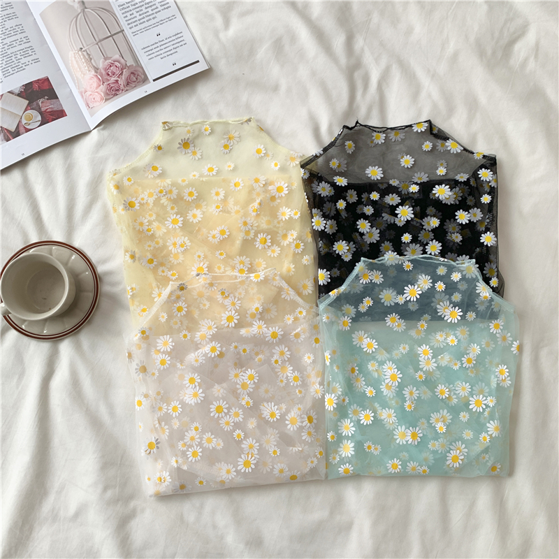 Summer Autumn Women Casual Mesh Pattern Daisy Flower Printed Blouse Tops Girls Mesh Shirts See Through Shirt For Female