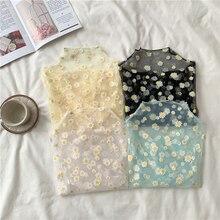 Blouse Tops Shirts Mesh Daisy Flower-Printed Girls Women Summer Female Casual for Autumn