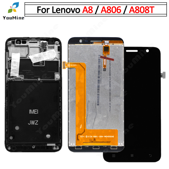 100% Tested for Lenovo A8 LCD Display Touch Screen Digitizer Assembly A806 A808 A808t For Lenovo A806 LCD Smartphone Replacement