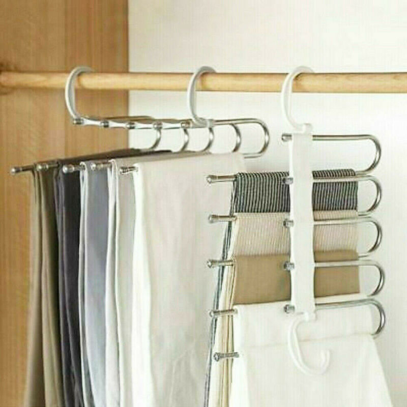 Multi-function Stainless Steel 1PC 5 Tier Portable Clothes Hanger Pants Racks Trousers Hanger Clothes Storage Drying Hanger