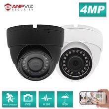 Anpviz 4mp câmera ip poe exterior todo-metal ip66 dome câmera de vigilância de vídeo de segurança onvif trabalho com hik hikvision compatível