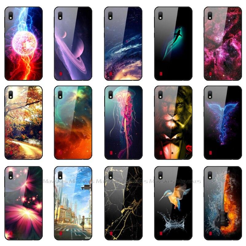 Étui pour samsung A10 Cas Couverture Arrière En Verre Trempé Téléphone étui pour samsung Galaxy A10 GalaxyA10 10 SM-A105F A105 A105F dessin animé