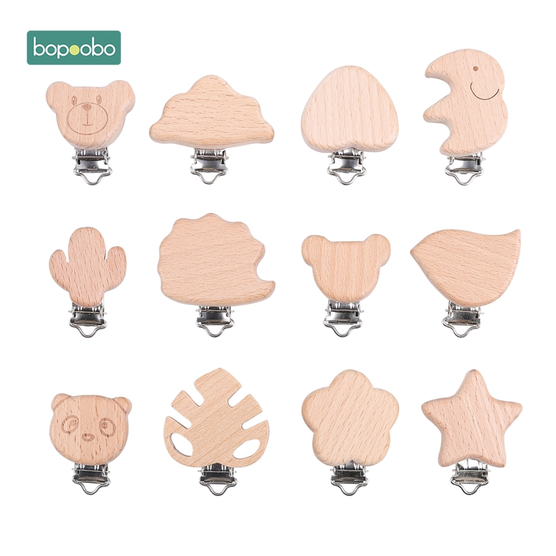 Bopoobo 20pc Pacifier Wooden Heart Clip Baby Teether Ecofriendly Crafts  Wooden Dummy Clips For Baby Newborn Dummy Clip Chains