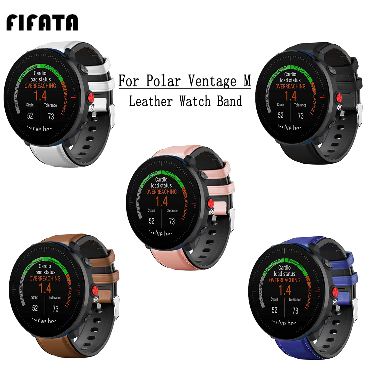 FIFATA 22MM Leather + Silicone Double Layer Watch Strap For Polar Vantage M Sport Watch Wristband For Huami Amazfit GTR Watch