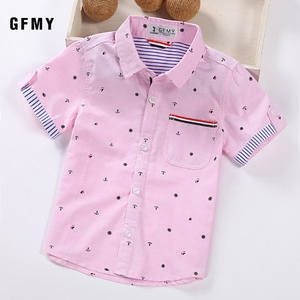 Boys Shirts Ribbon-Decoration Short-Sleeved Hot-Sale 2-14-Years Cotton Children Casual