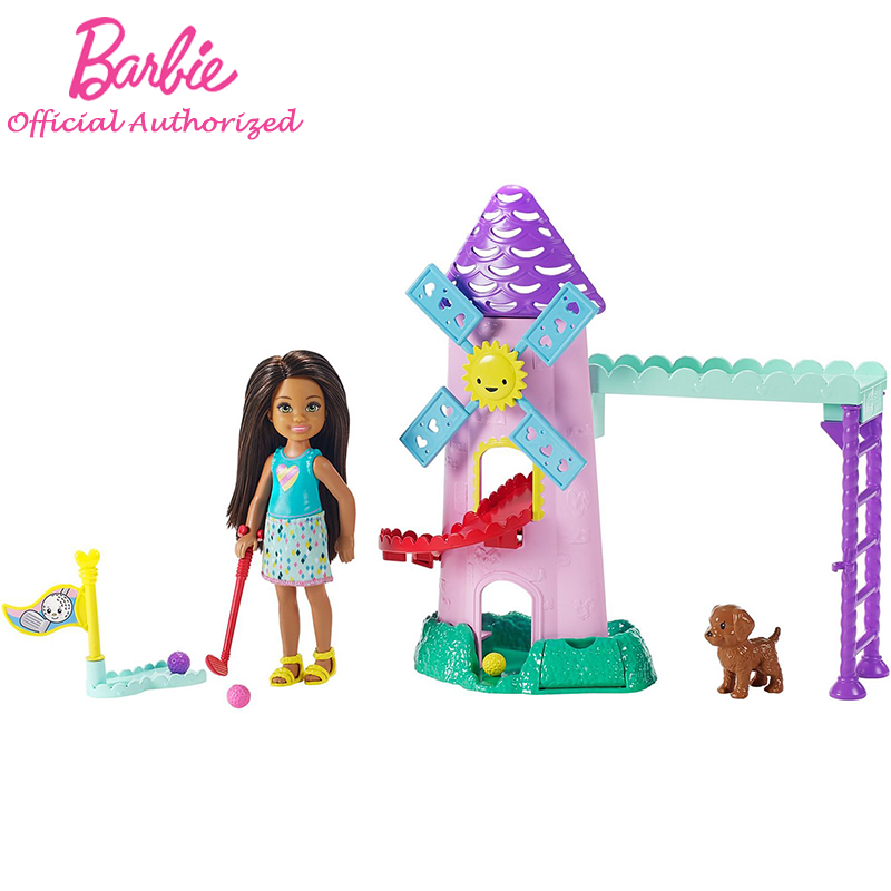 Barbie Club Chelsea Mini Golf Doll And Playset Lovely Puppy Accessories 2019 New Arrival FRL85 Barbie Set For Girl Birthday Gift