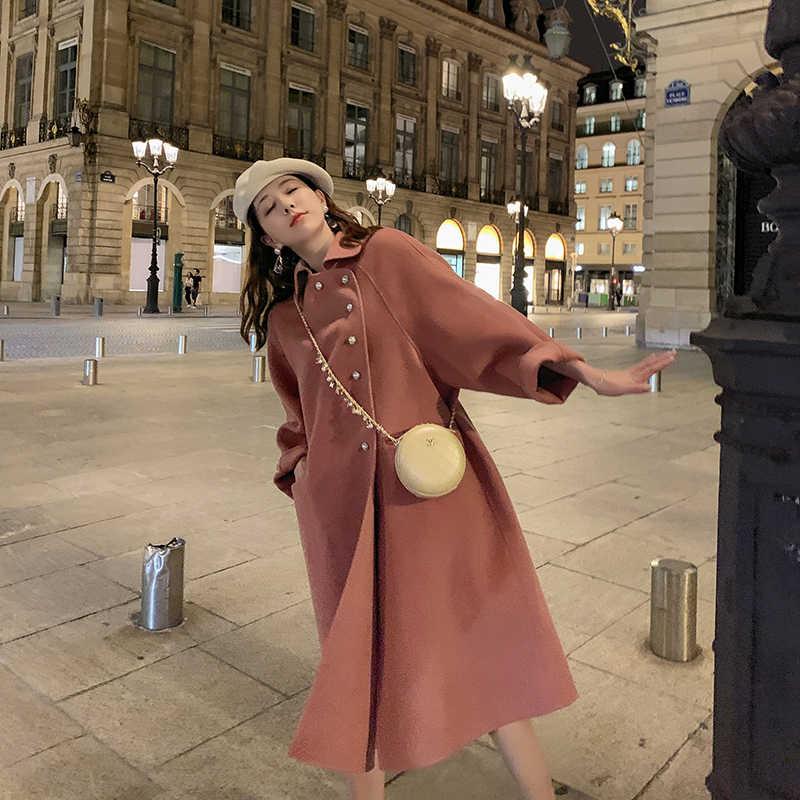 Hoge kwaliteit Grade Dubbelzijdig Wollen Jas In Lange Wollen Jas Pop Kraag Mode A-lijn Losse Wollen Jas Vrouwen winter Warm