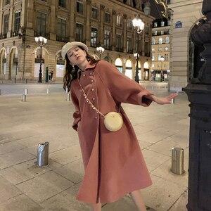 Image 1 - Wysokiej jakości dwustronny wełniany płaszcz w długi płaszcz wełniany kołnierzyk dla lalek moda A Line luźny wełniany płaszcz kobiety Winter Warm