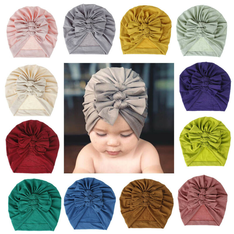 Emmababy Baby Girls Turban Knot Head Wrap Cute Kid Rabbit Bunny Hat Ear Cotton Velvet Cap