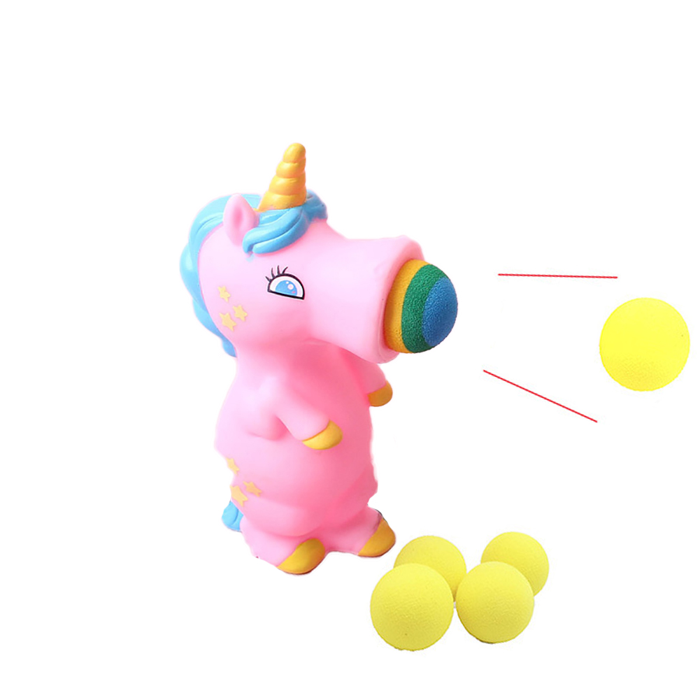 1PC Unicorn Popper Kids Ball Popper Toy Indoor And Outdoor Play Ball Shooting Toy Unicorn Gifts For Boys Girls(Pink)