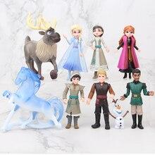 דיסני קפוא 2 5 11cm 9 יח\סט אנימה Pvc פעולה דמויות נסיכת אלזה אנה Kristoff סוון אולף יום הולדת צעצועים לילדים מתנות