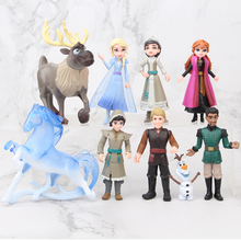Disney Frozen 2 5 11cm 9pcs/set Anime Pvc Action Figures Princess Elsa Anna Kristoff Sven Olaf  Birthday Toys For Children Gifts