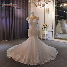 Yeni model özel dantel tam boncuk düğün elbisesi mermaid gelinlik gerçek iş