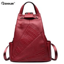 ZOOLER cowhide backpacks quality Leather Woman Backpack double strap bags for girl brand fashion large capacity travel bags#B151