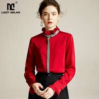 Women's Natutral Silk Shirts O Neck Ruffles Long Sleeves Beaded Fashion Casual Tops Blouse Shirt