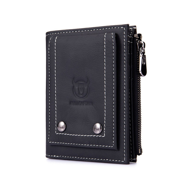 Genuine Leather Men's wallet With Zipper