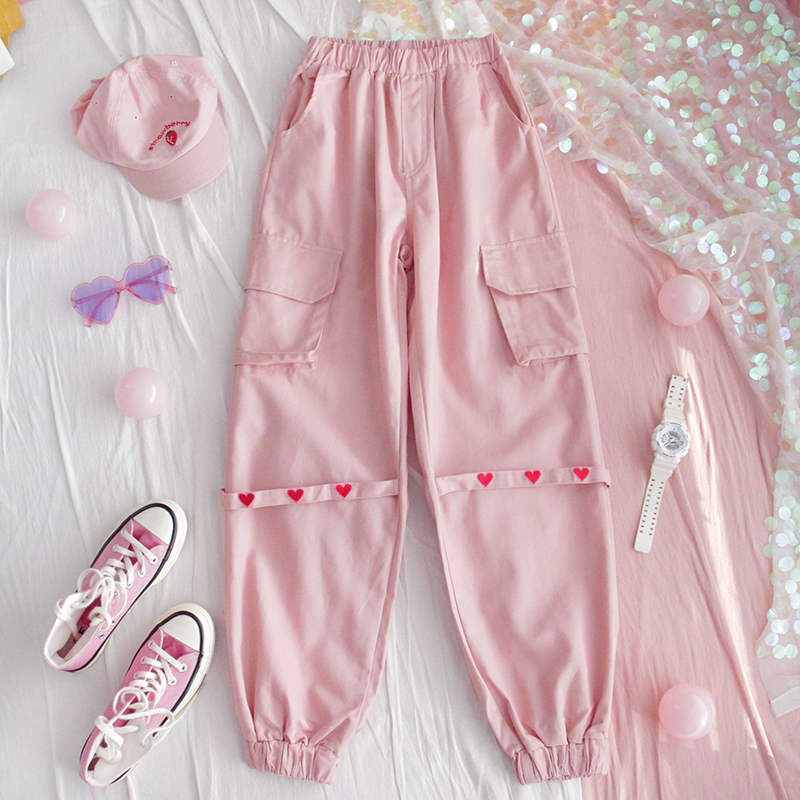 Harajuku Fashion Streetwear Women Cargo Pants Pink High Waist Pockets Heart Ribbon Trousers Female Hip Hop Casual Sweatpants