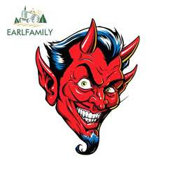 EARLFAMILY 13cm x 10cm For Devil Refrigerator Decor Car Stickers Vinyl Material Decal Waterproof Sunscreen Personality Creative