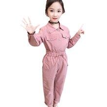 Genç kız giyim katı gömlek ve pantolon takım elbise düz yüksek bel kızlar giyim seti güz moda kış giysileri setleri
