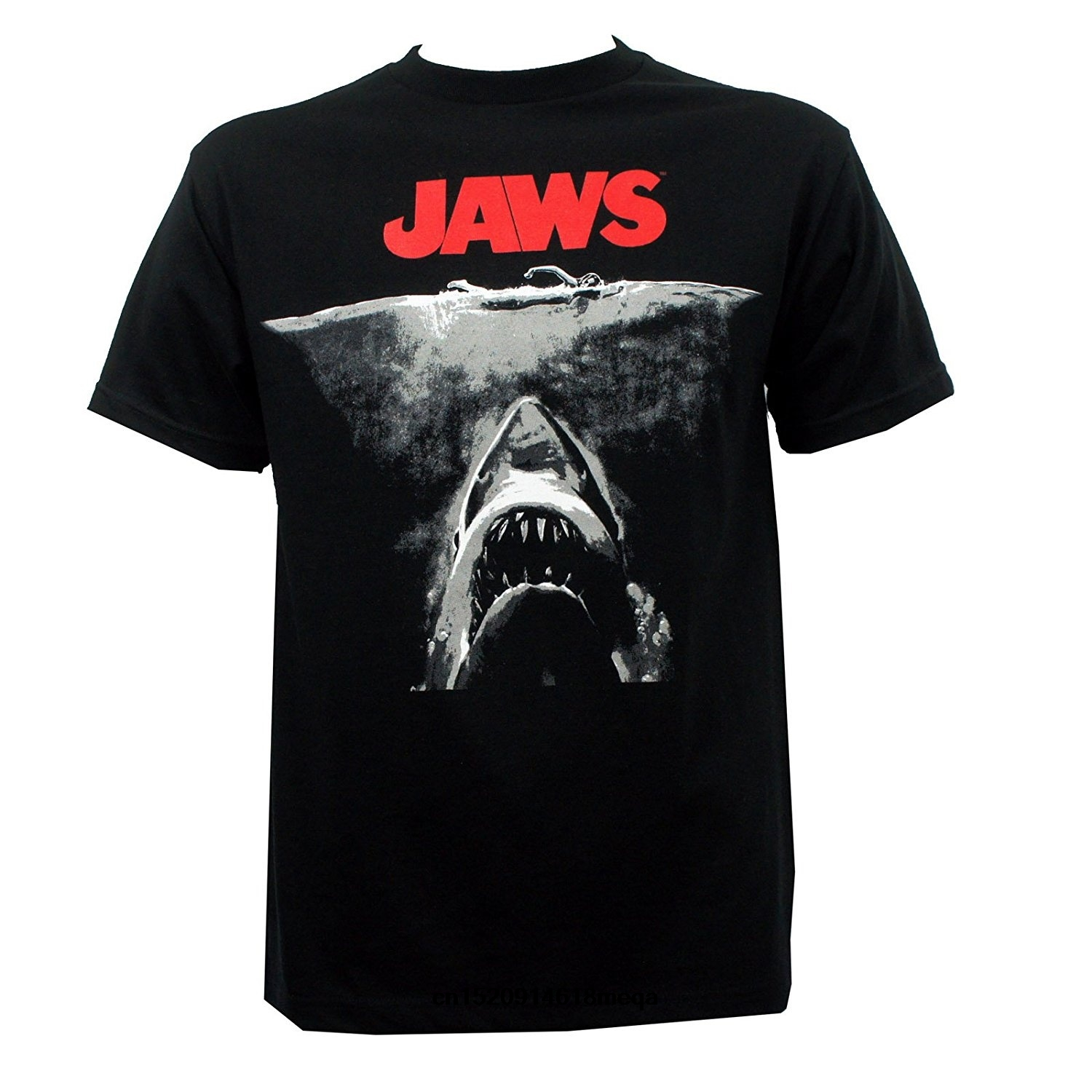 t shirt Jaws Mens Black and White Poster Fashion T-Shirt