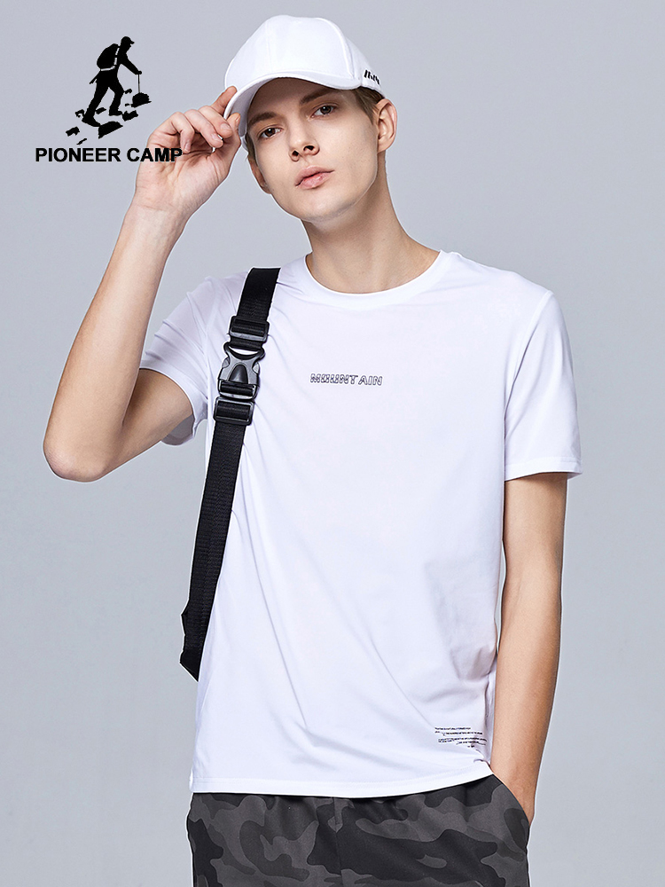 Pioneer Camp 2020 Summer T-shirt Men Letter Printed Basic Men's Clothes 100% Cotton Fashion Top Tees ADT0205110