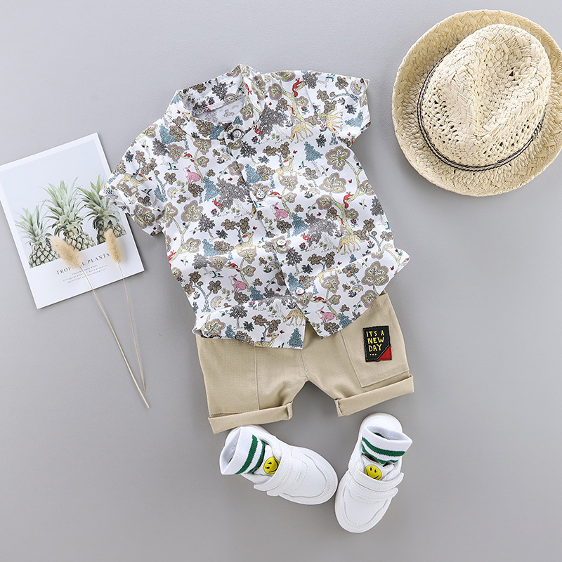 Kids clothes Summer leaves Print Cartoon Short Sleeve children clothes Shirt + Pants for Toddler Baby Boys Clothes