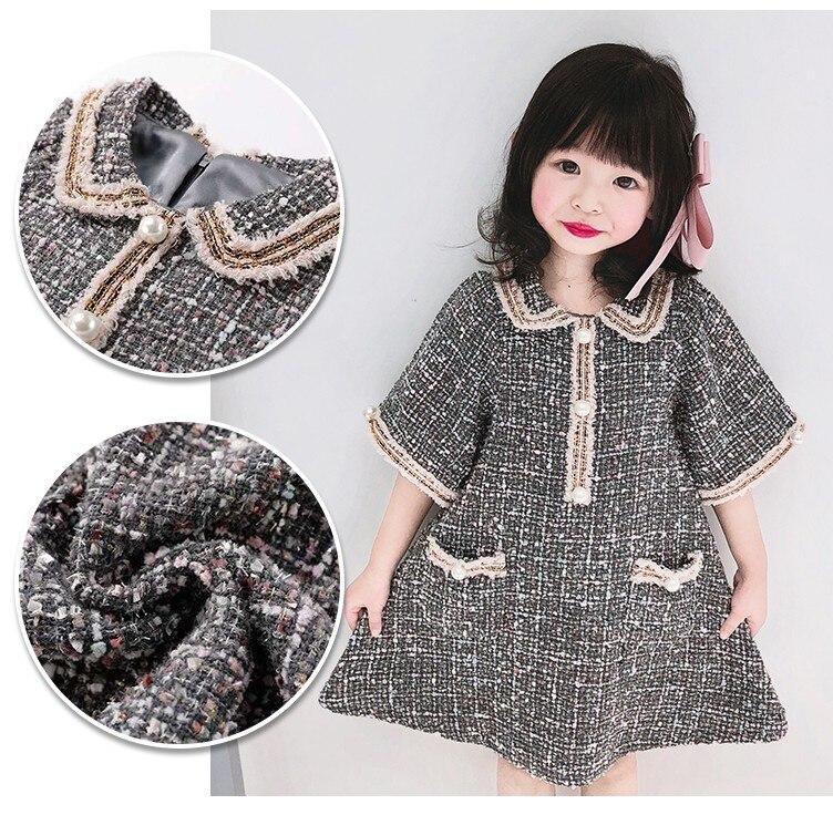 Robes de mère et fille de Style japonais printemps automne bébé filles collier de poupée demi manches perles robe en laine vêtements de famille P83 - 5