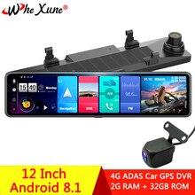 "WHEXUNE 2020 جديد 12 ""4G أندرويد 8.1 سيارة DVRs كاميرا لتحديد المواقع والملاحة مرآة مسجل متوافق مع المزيد من التطبيقات واي فاي ADAS داش كام"