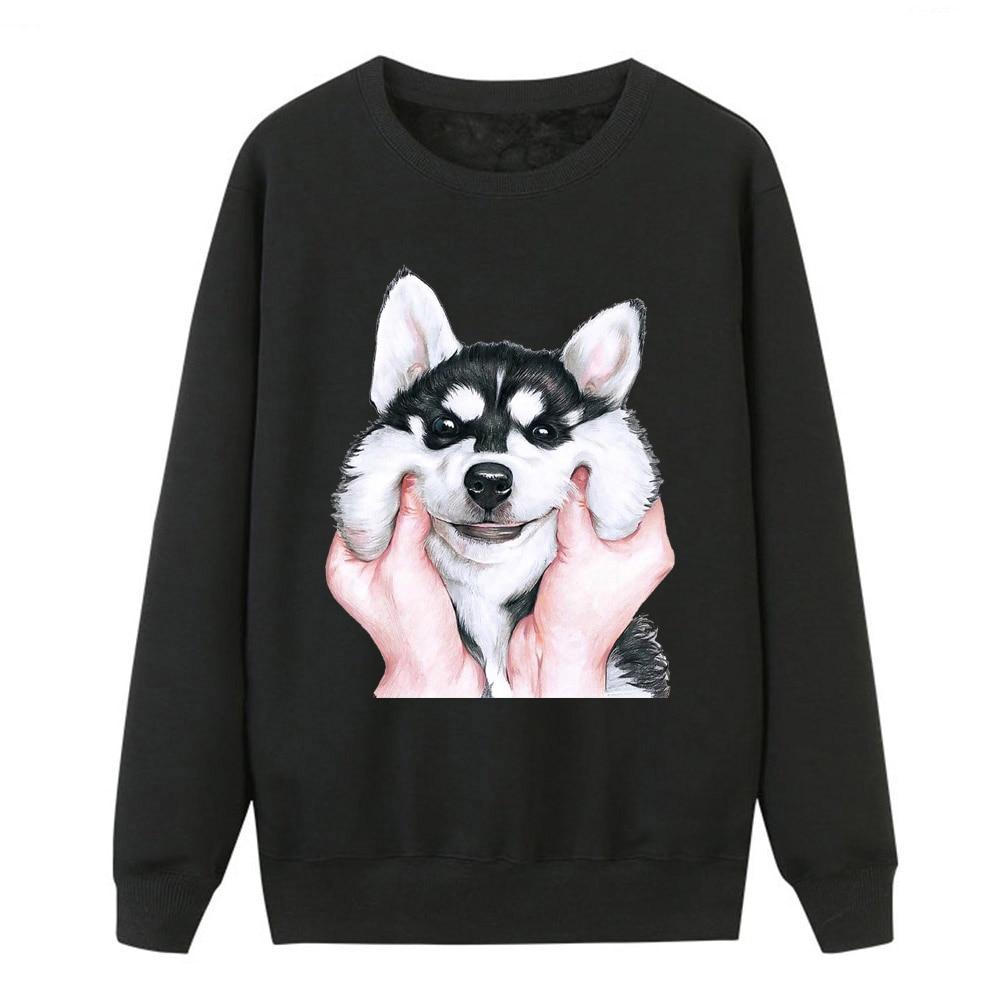 Funny Print Animal Dog Women Sweatshirt Women Hoodies Husky Crewneck Sweatshirts Pullover Top Long Sleeve Casual Loose Tracksuit