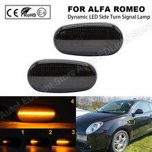 2 pçs para alfa romeo mito 147 gt fiat bravo dinâmico led lado marcador de luz seta pisca pisca indicador lâmpada clara/fumaça