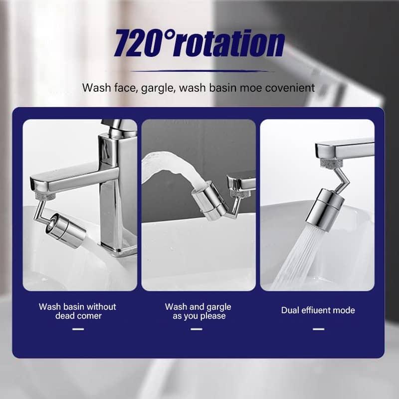 Universal Splash Filter Faucet,720/° Rotate Water Outlet Faucet,Movable Kitchen Tap Water Saving Nozzle Sprayer Booster,Universal Basin Lengthen Extender,Oxygen-Enriched Foam 1 PCS