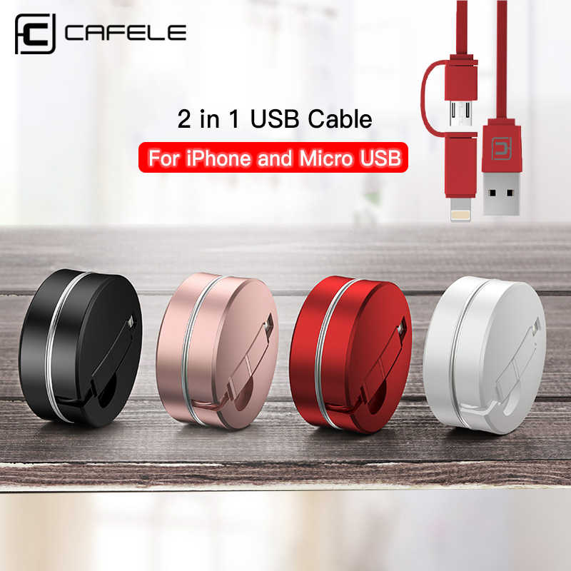 Cafele Retractable Durable 2 in 1 USB Cable for iPhone XS Max 8 7 6 plus Micro USB Cable Charging USB Cable for iPhone 6 7 8 XS