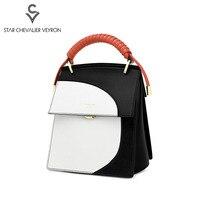 SCV 2020 new women's bag stitching handbag Split Leather high quality multi purpose shoulder bag