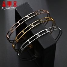 Bangles Cuff-Bracelets Jewelry Letters Name Customized Stainless-Steel Women Hollow Auxauxme