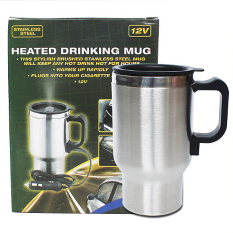 Stainless Steel Kettle Car Auto Adapter 12V Heated Travel Thermos Heating Cup Removable Electric Supply Connector