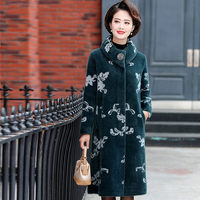 Mother Mink Wool Coat Cardigan Loose Tops Middle aged Women Long Section Fashion Jacquard High end Cashmere Coat Women f2442