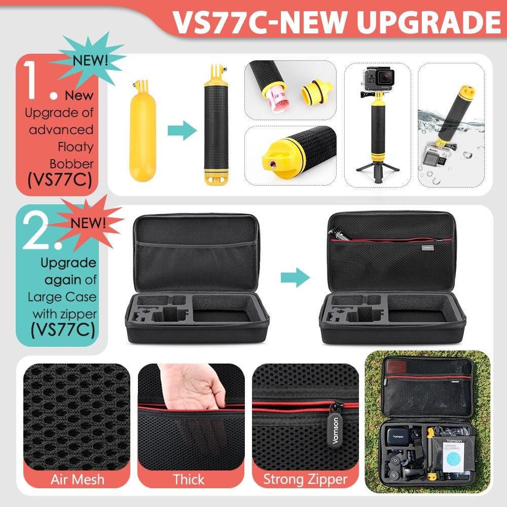 Vamson for Gopro Accessories Set for go pro hero 9 8 7 6 5 4 kit 3 way selfie stick for Eken h8r / for yi EVA case VS77 2